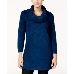 Karen Scott Marled Cowl-Neck Tunic Sweater in Teal